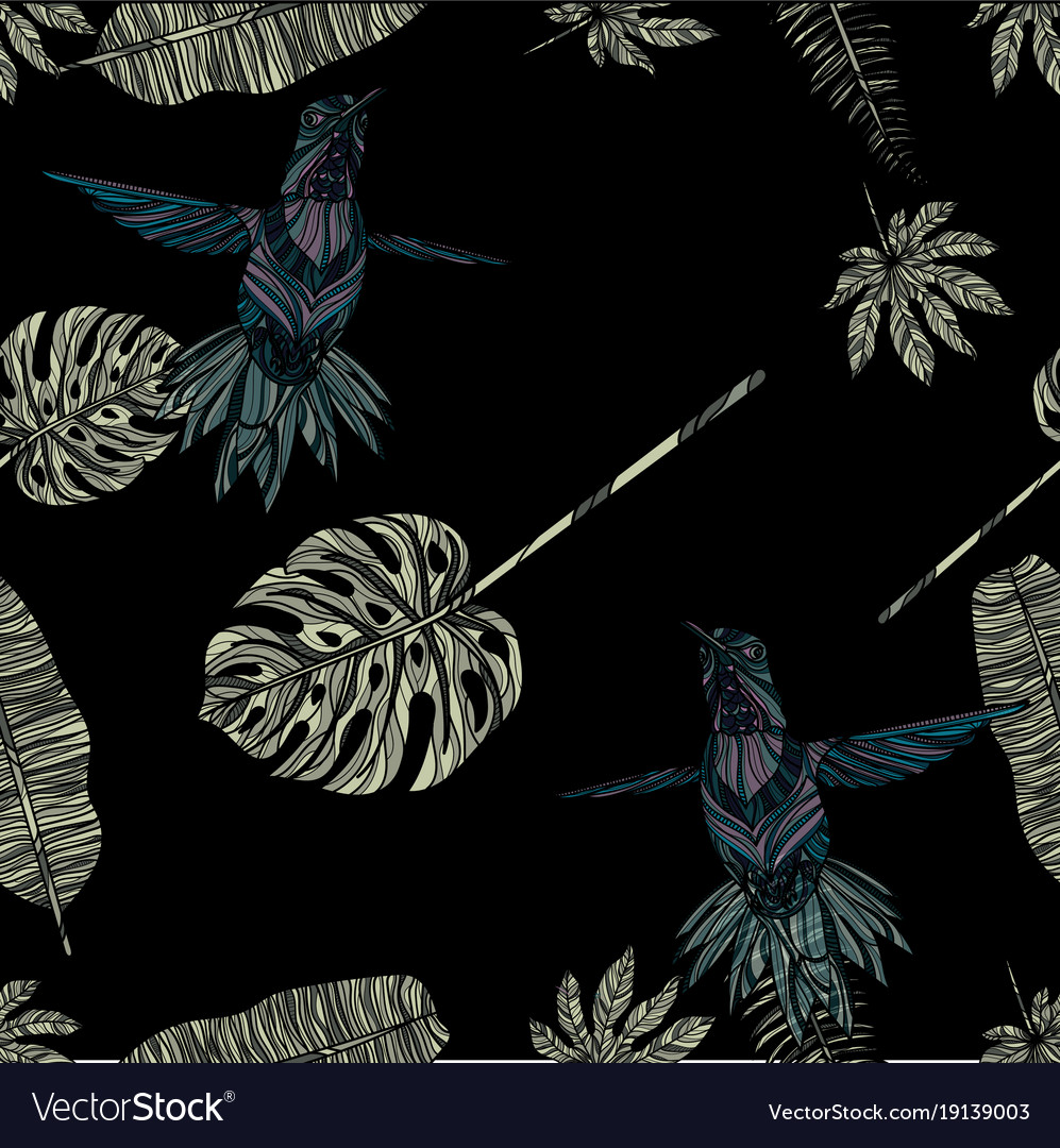 Tropical leaves and hummingbird seamless pattern