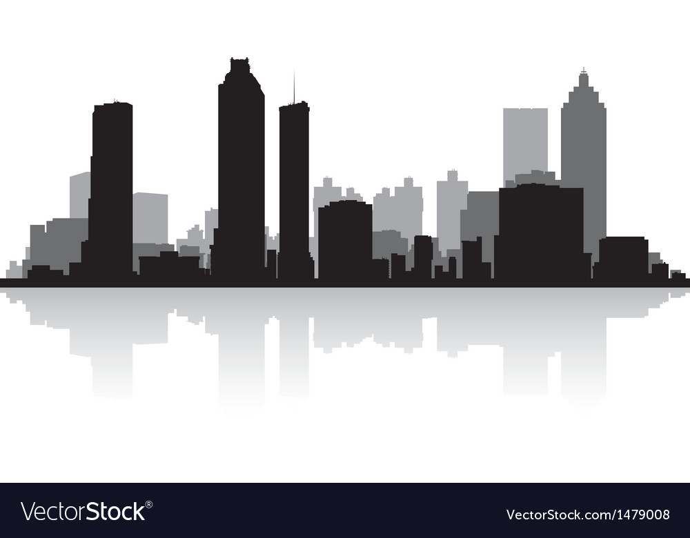atlanta usa city skyline silhouette royalty free vector rh vectorstock com New York Skyline Vector Los Angeles Skyline Vector Art