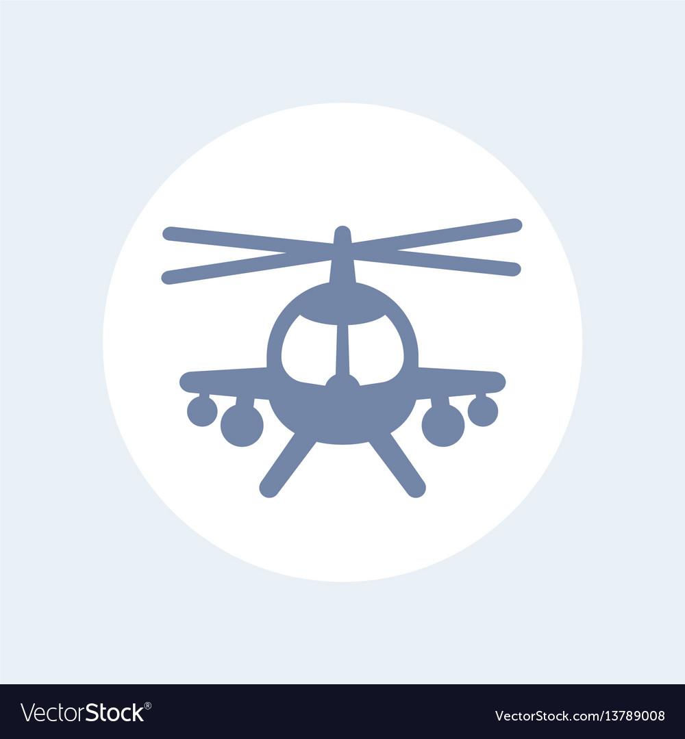 Combat helicopter icon isolated over white