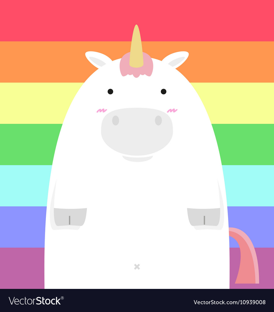 Cute fat big unicorn vector image
