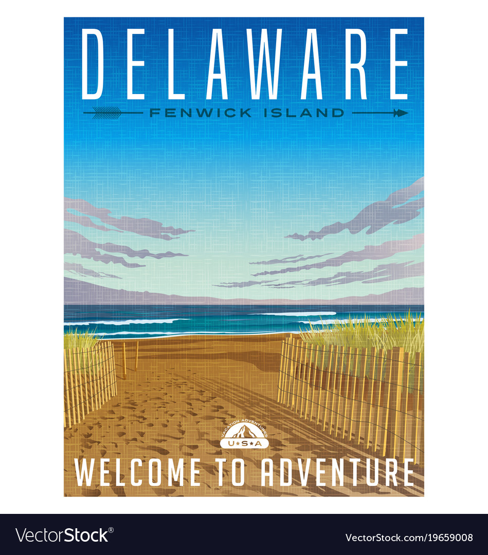 Delaware united states travel poster