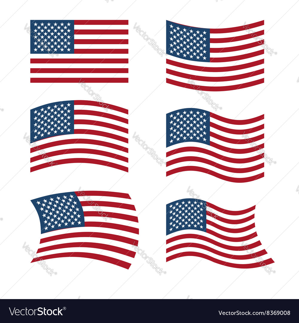 Flag of USA Set of flags of America in various