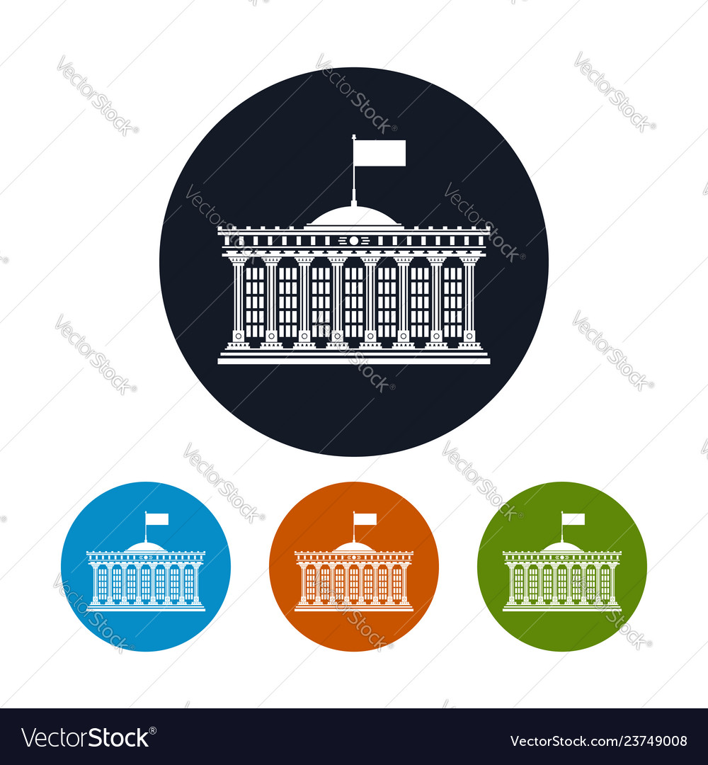 Four types of colorful round icons bank house