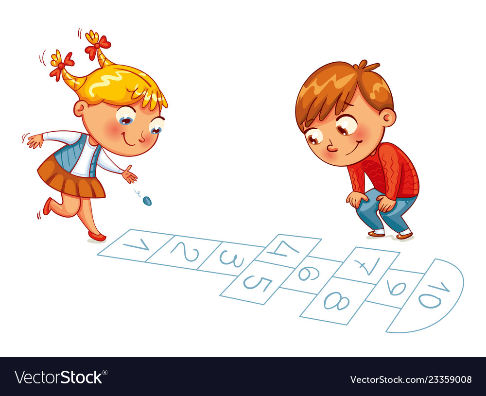 Girl and boy play in hopscotch