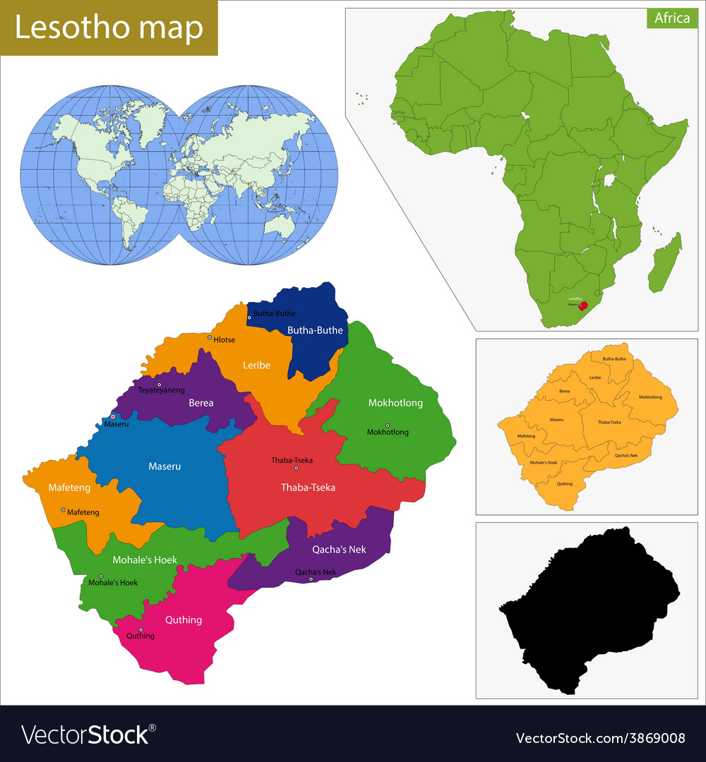Lesotho Map Royalty Free Vector Image Vectorstock