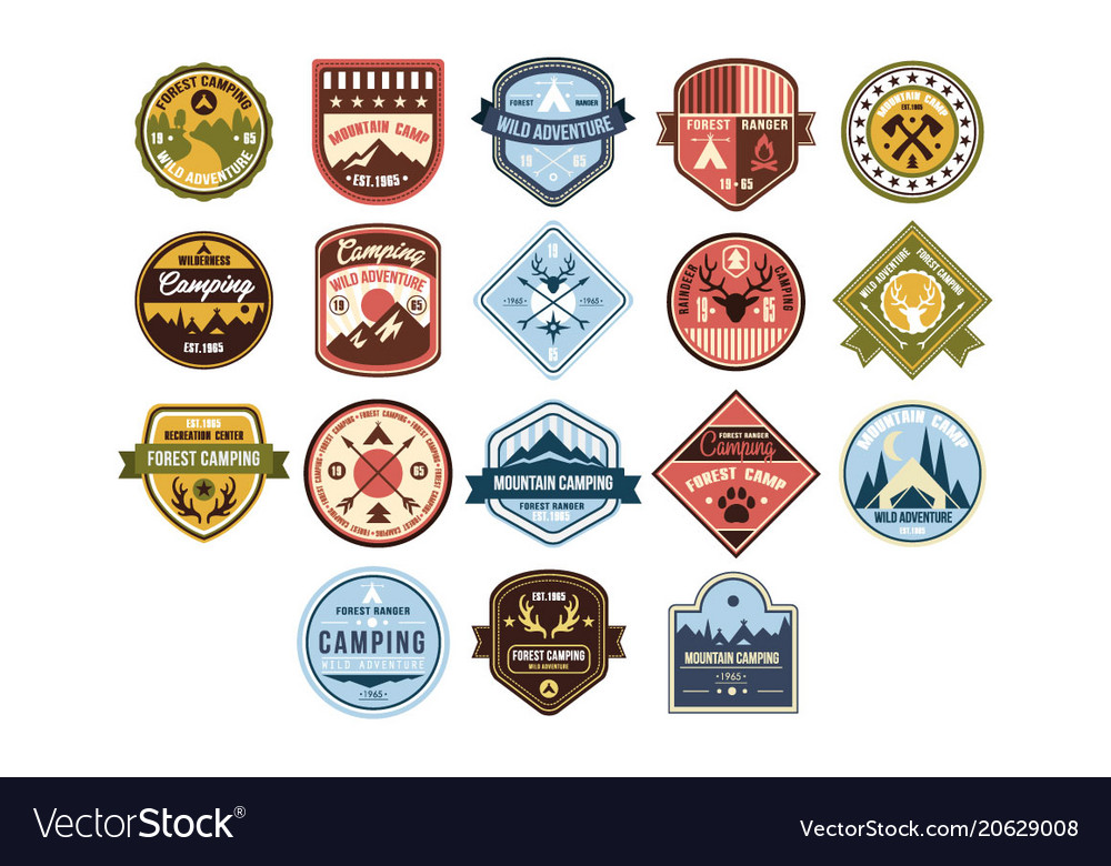 Mountain camping logo set wild adventure forest
