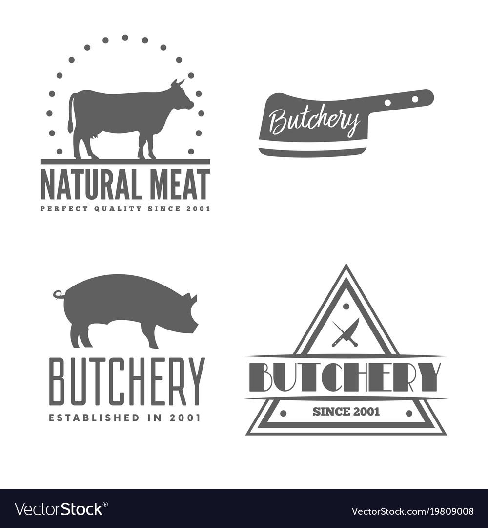 Set of butchery labels badges and design