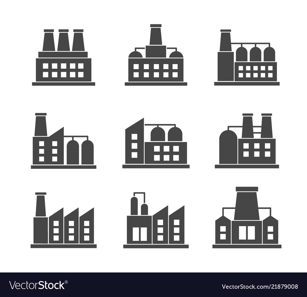 Set of factories related icons industrial