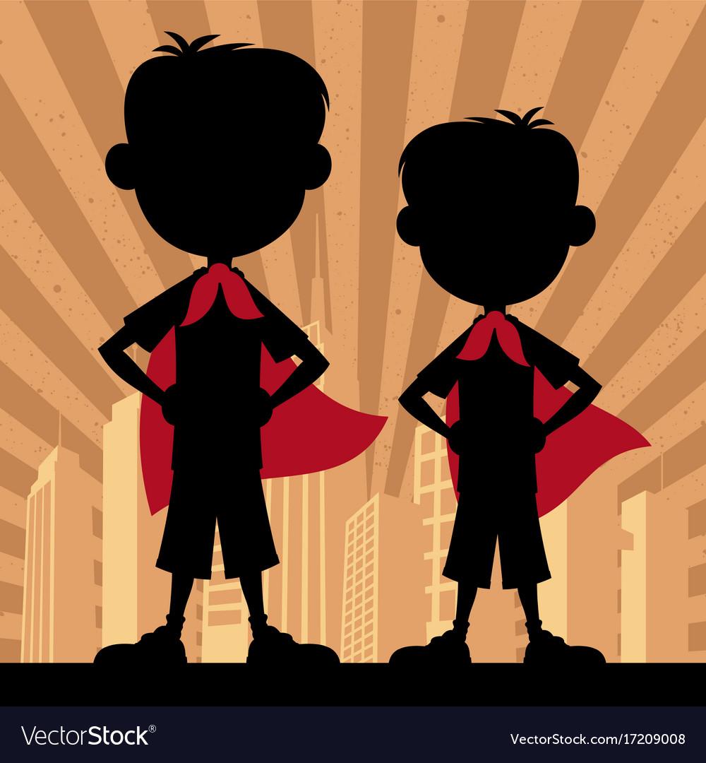 Super kids 2 boys vector image