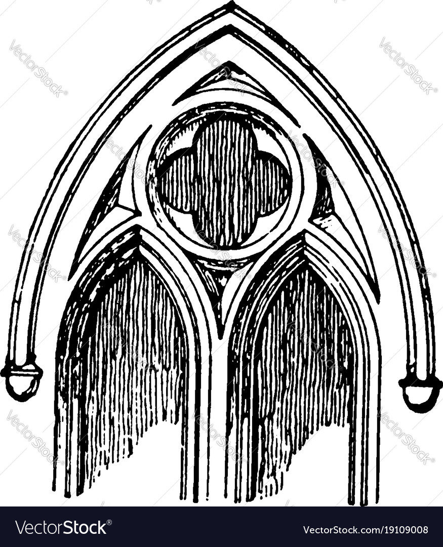 Tracery normally quite small vintage engraving