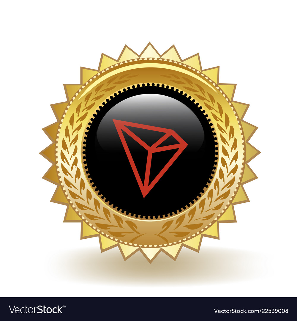 Tron cryptocurrency coin gold badge