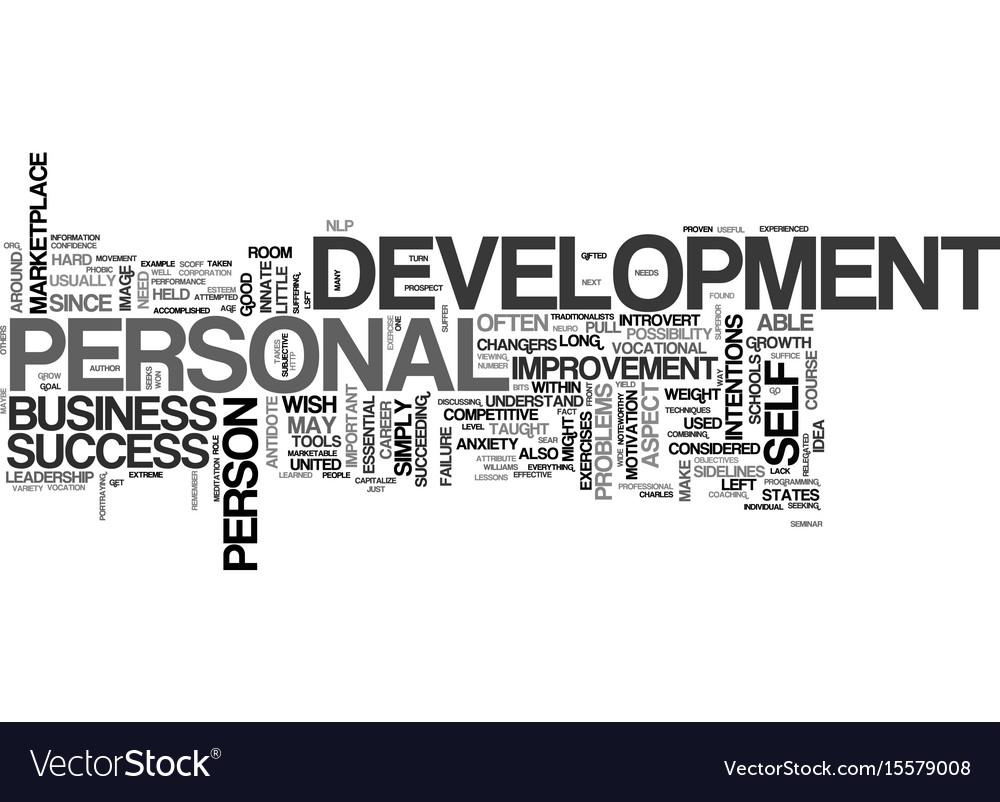 What is personal development text word cloud