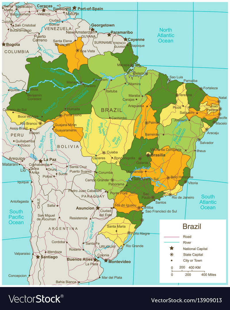 Brazil political map with selectable territories vector image gumiabroncs Image collections
