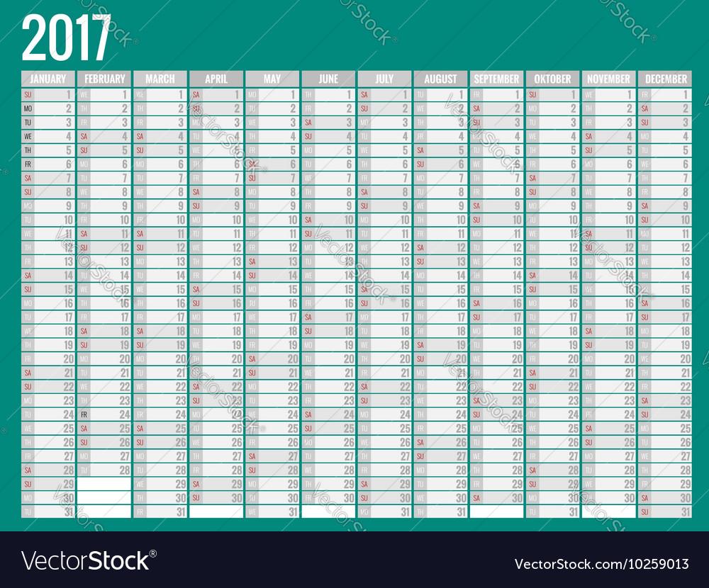 Calendar simple flat design 2017