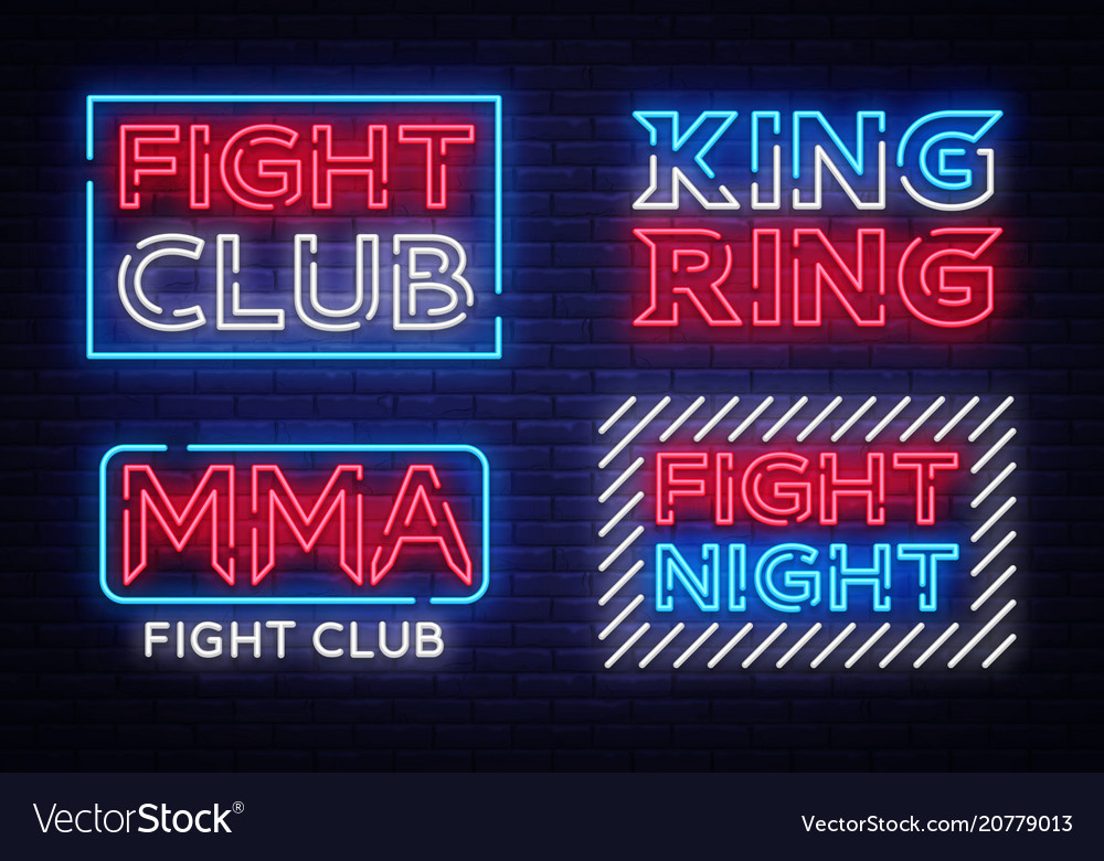 Collection of fight club neon signs king