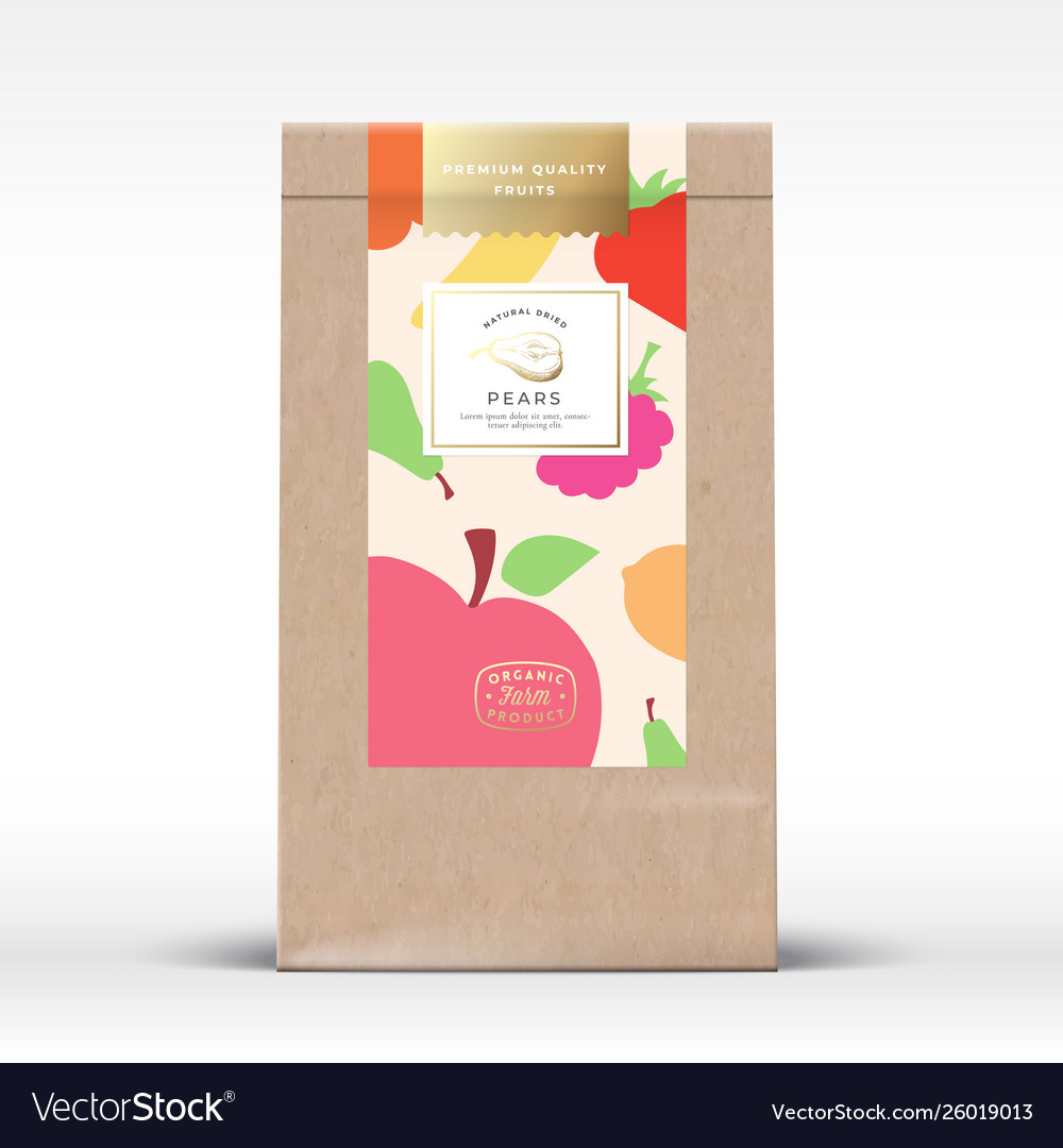 Craft paper bag with dried fruits label abstract