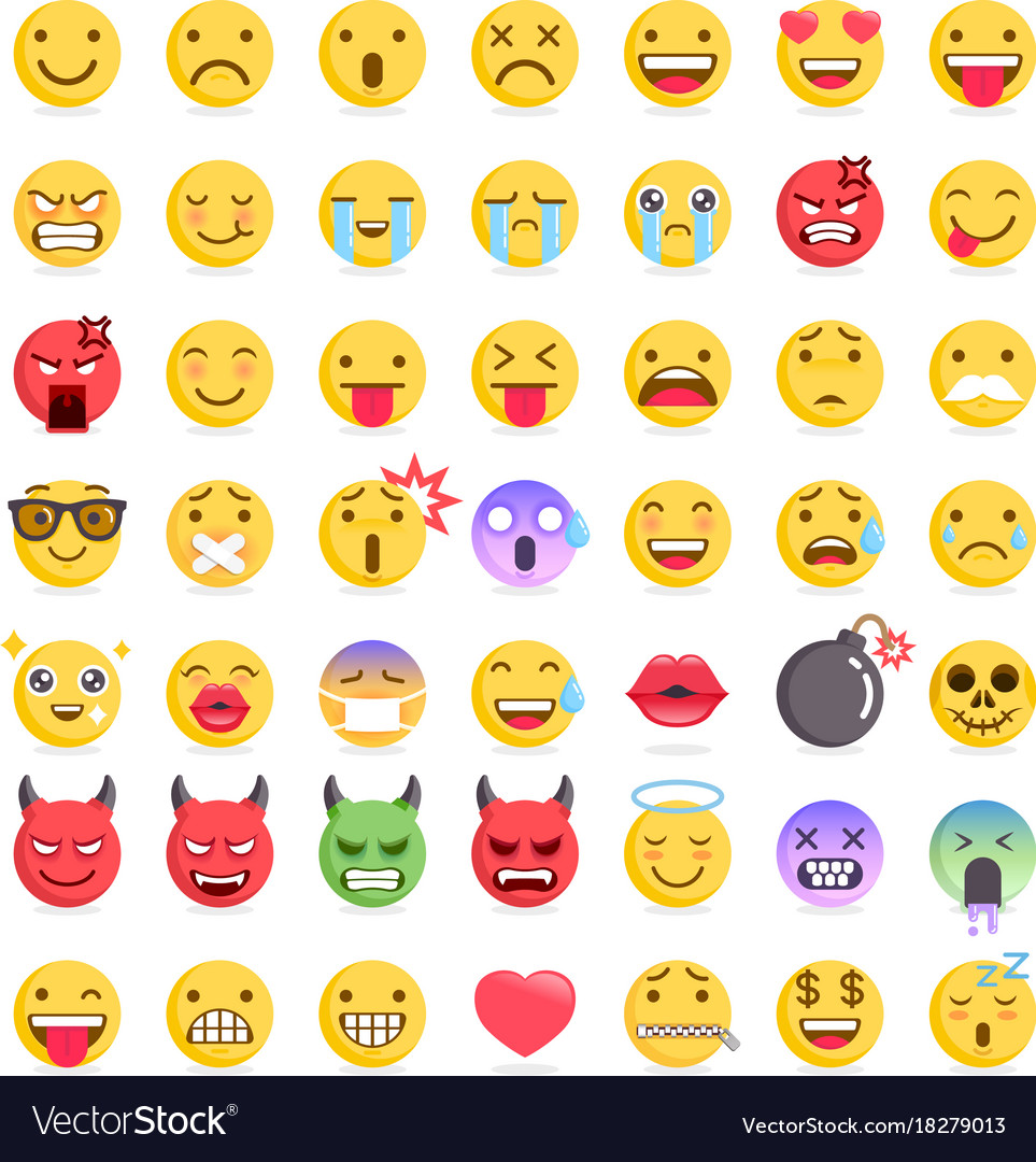 Emoji emoticons symbols icons set
