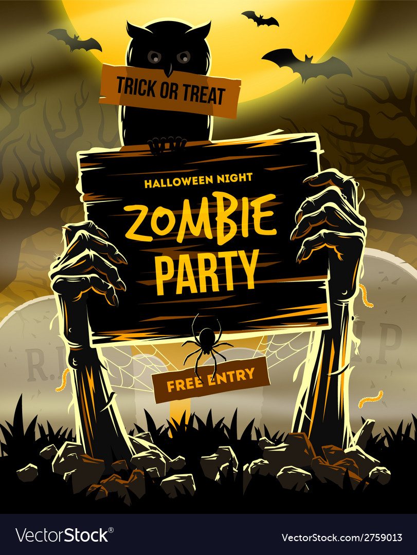 Halloween invitation to zombie party