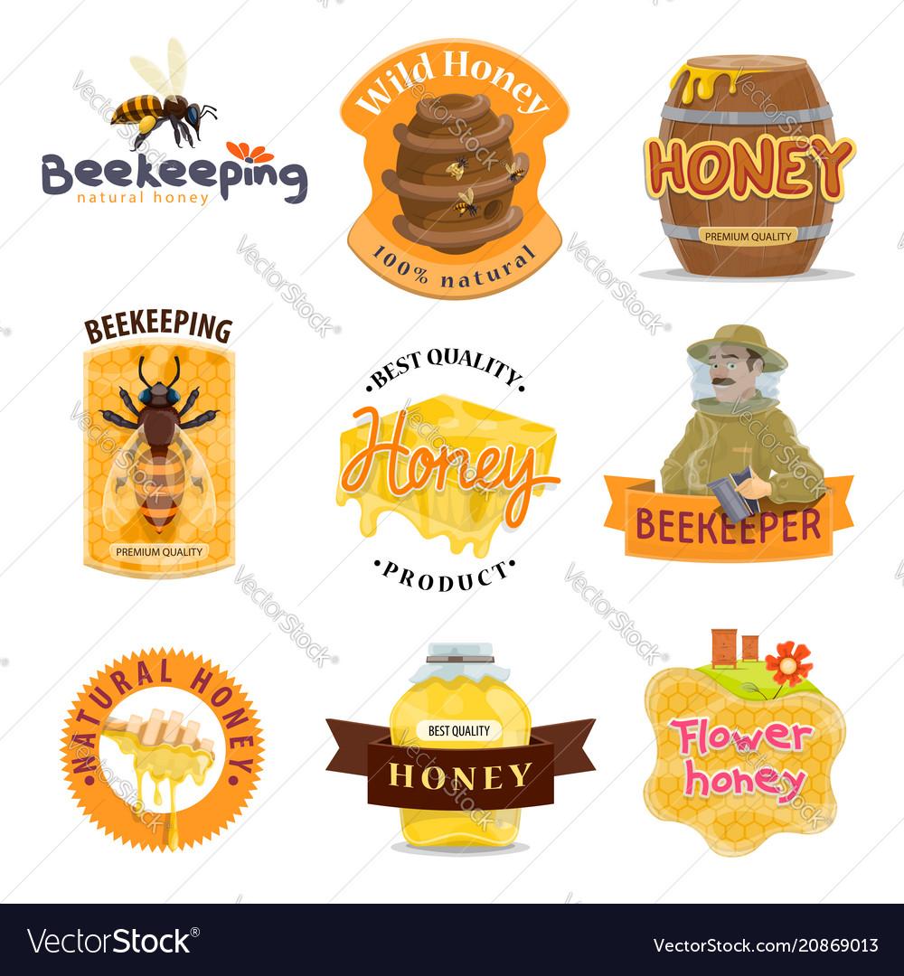 Honey natural food icon beekeeping farm product