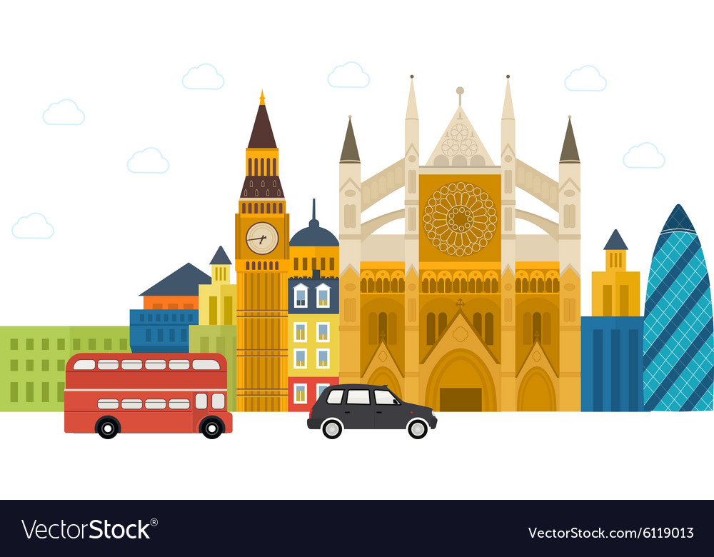 London United Kingdom flat icons design travel