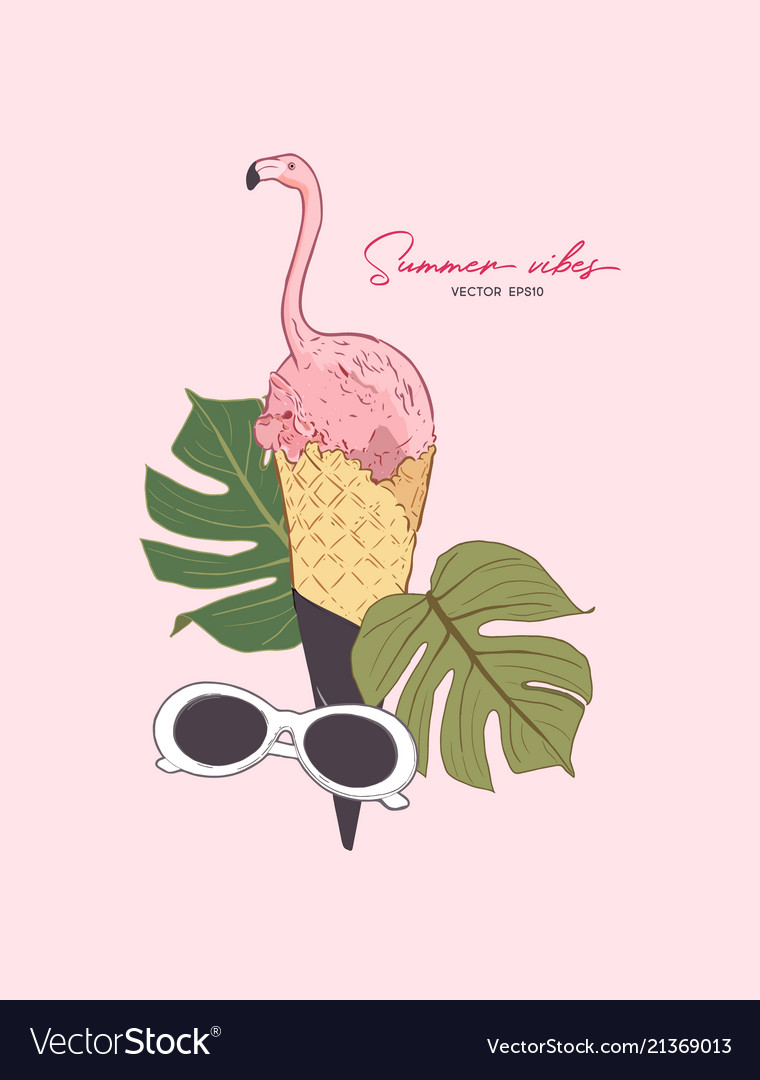 Pink flamingo in icecream cone summer vibes