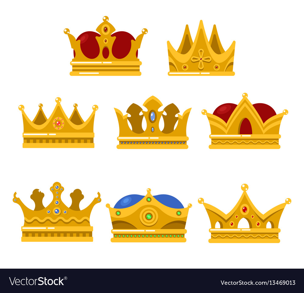 Set of king or queen golden crown icon