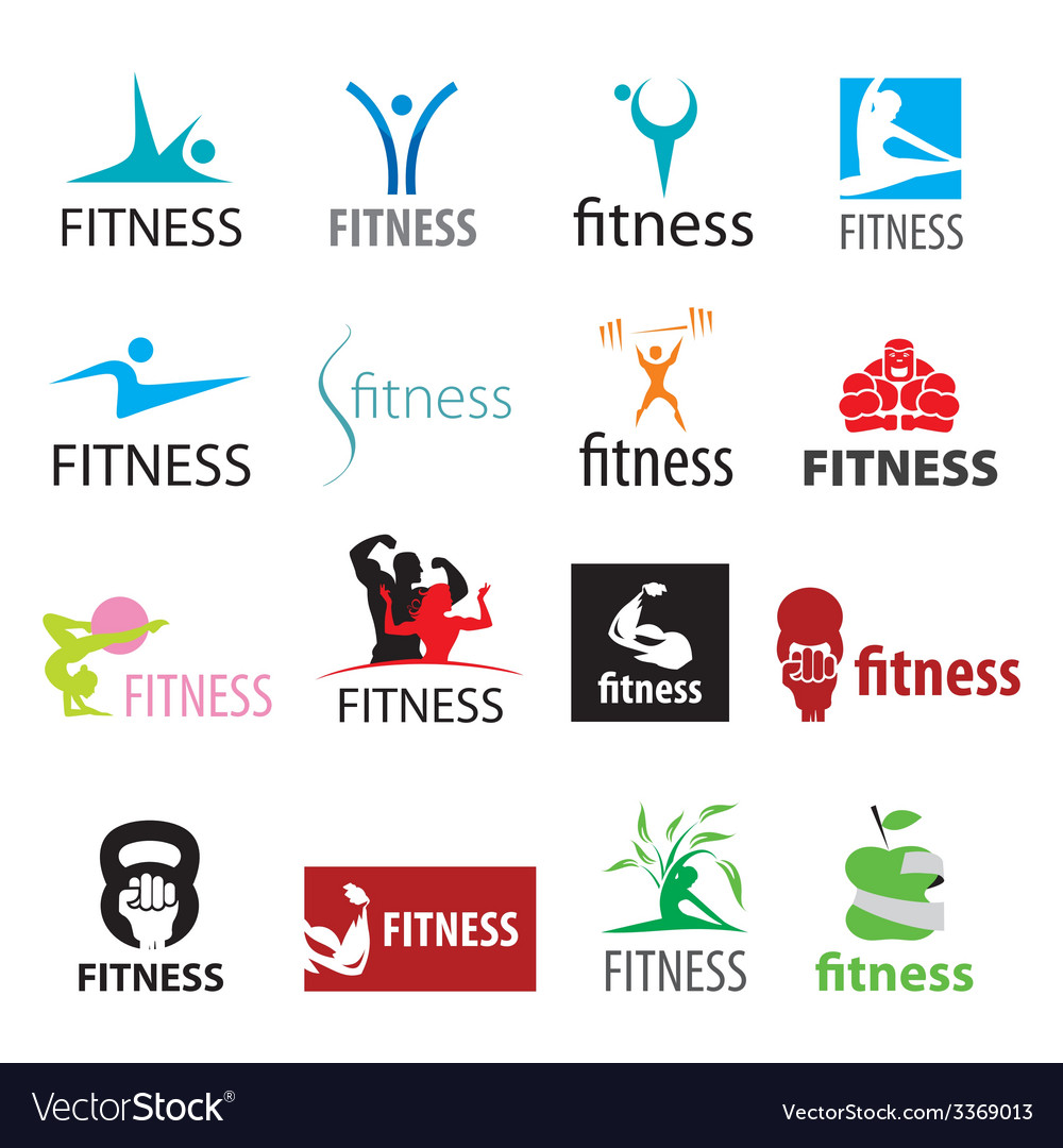 Set of logos fitness and sports vector image