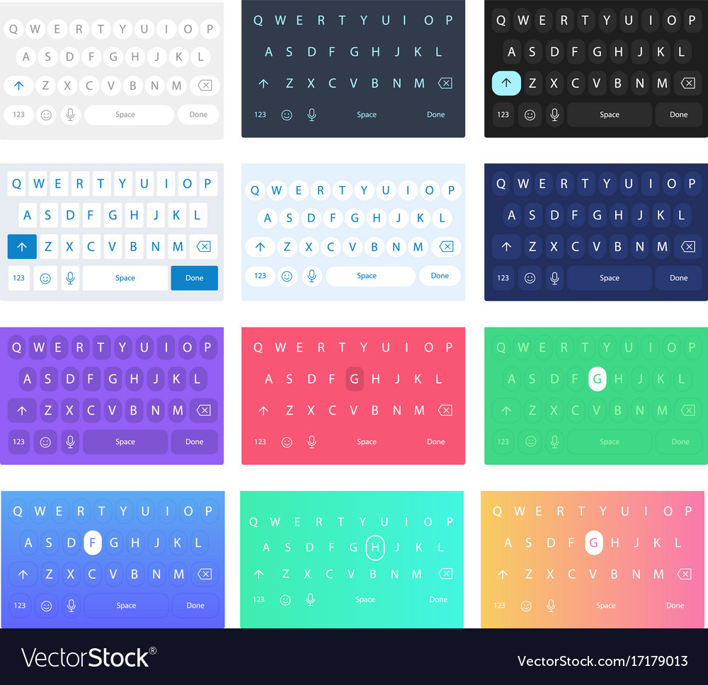 Set qwerty mobile keyboards keys