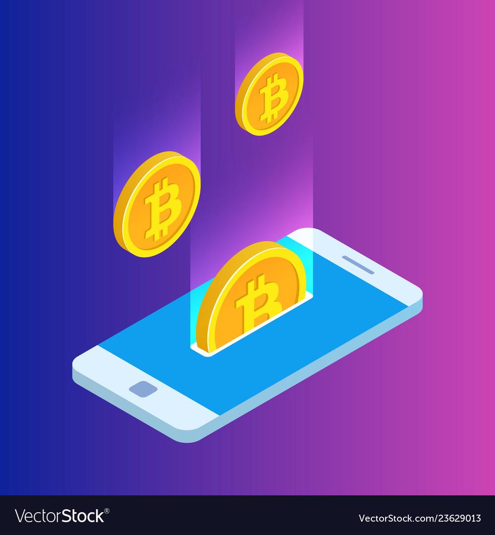 Smartphone with gold rain of bitcoins monetary