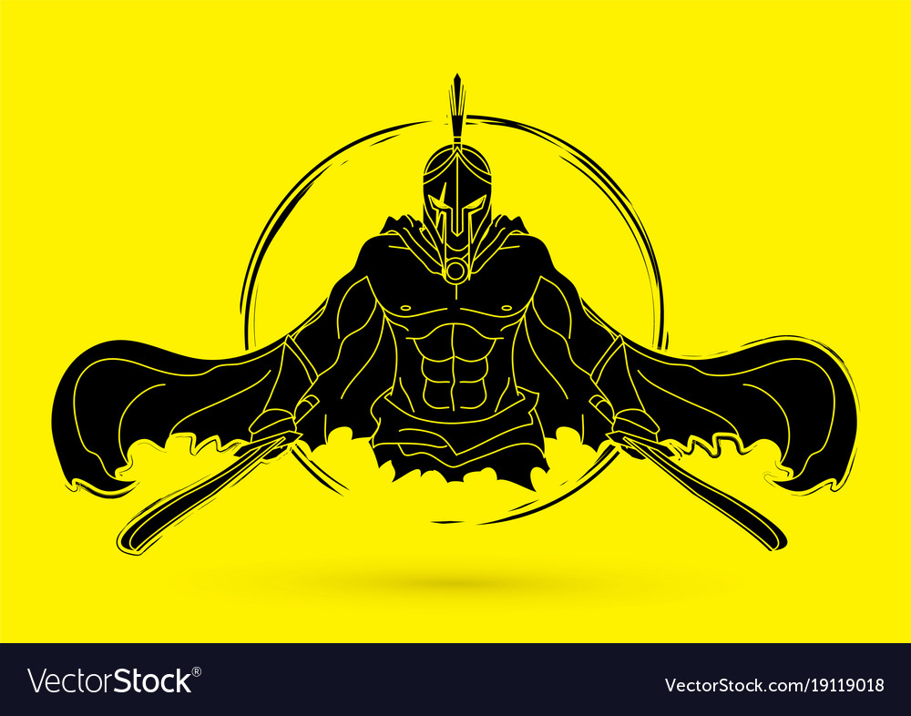 Angry spartan warrior with swords vector image