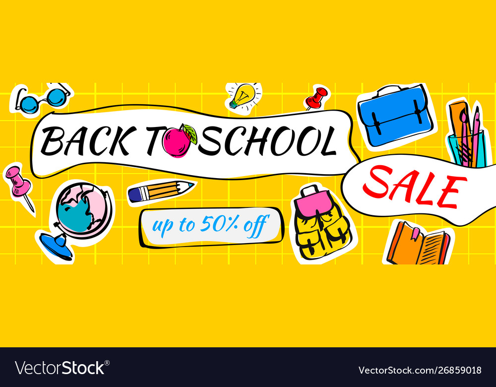 Back to school sale doodles horizontal background