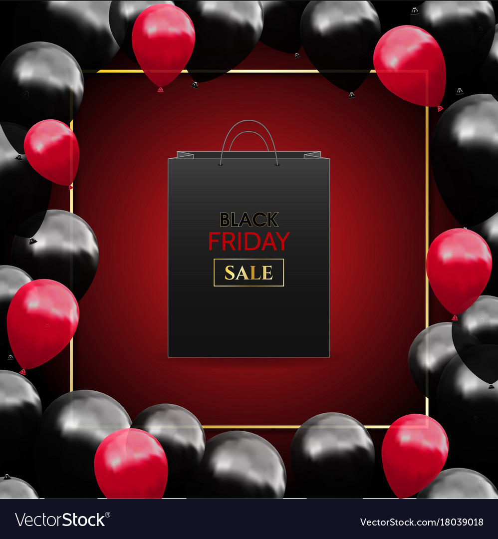 Black friday advertising poster with balloons and