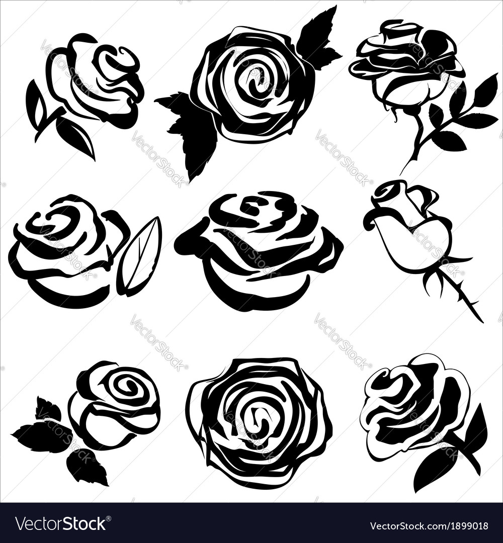 Black silhouette of rose set symbols