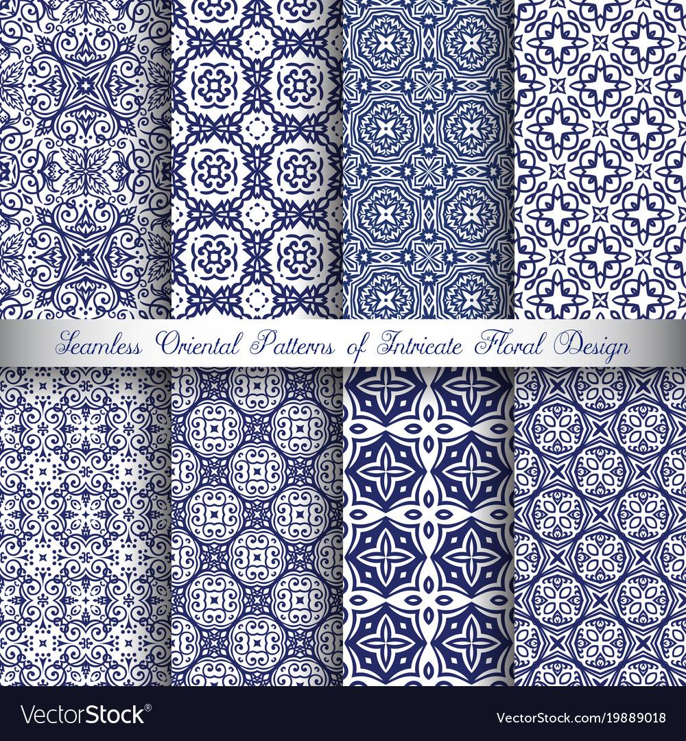 Blue arabesque patterns