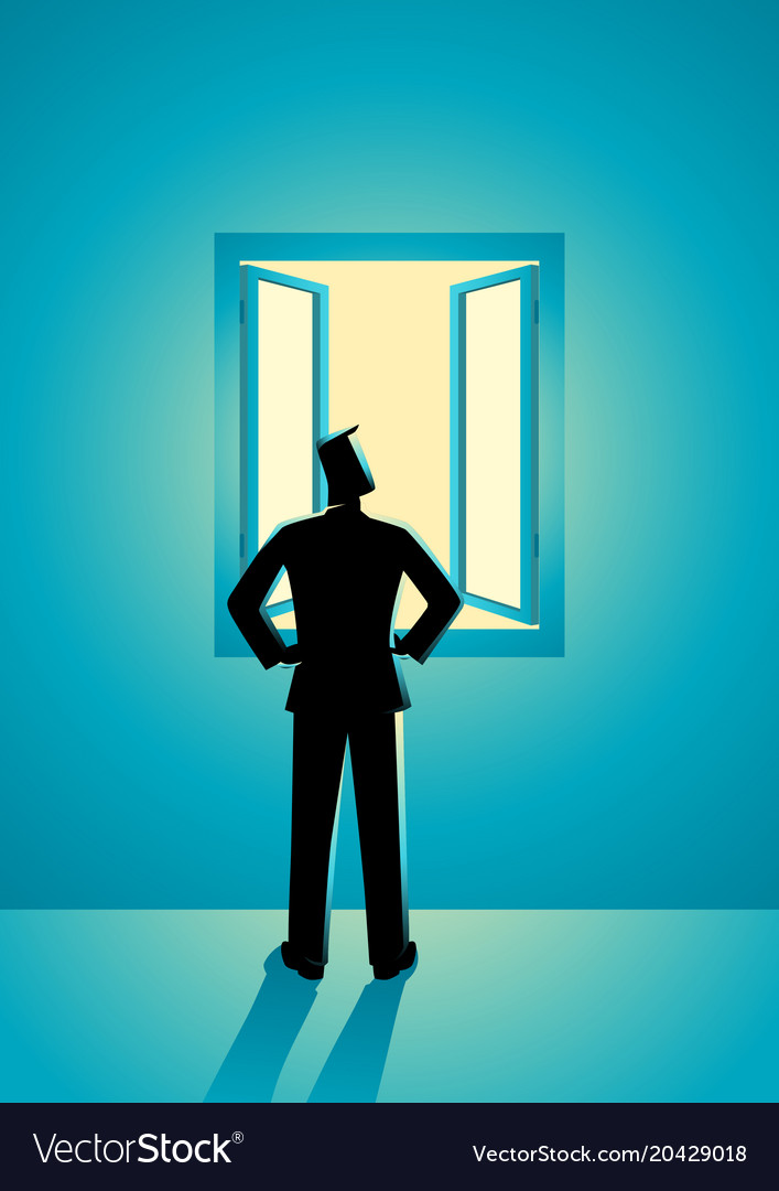 Businessman looking through window vector image