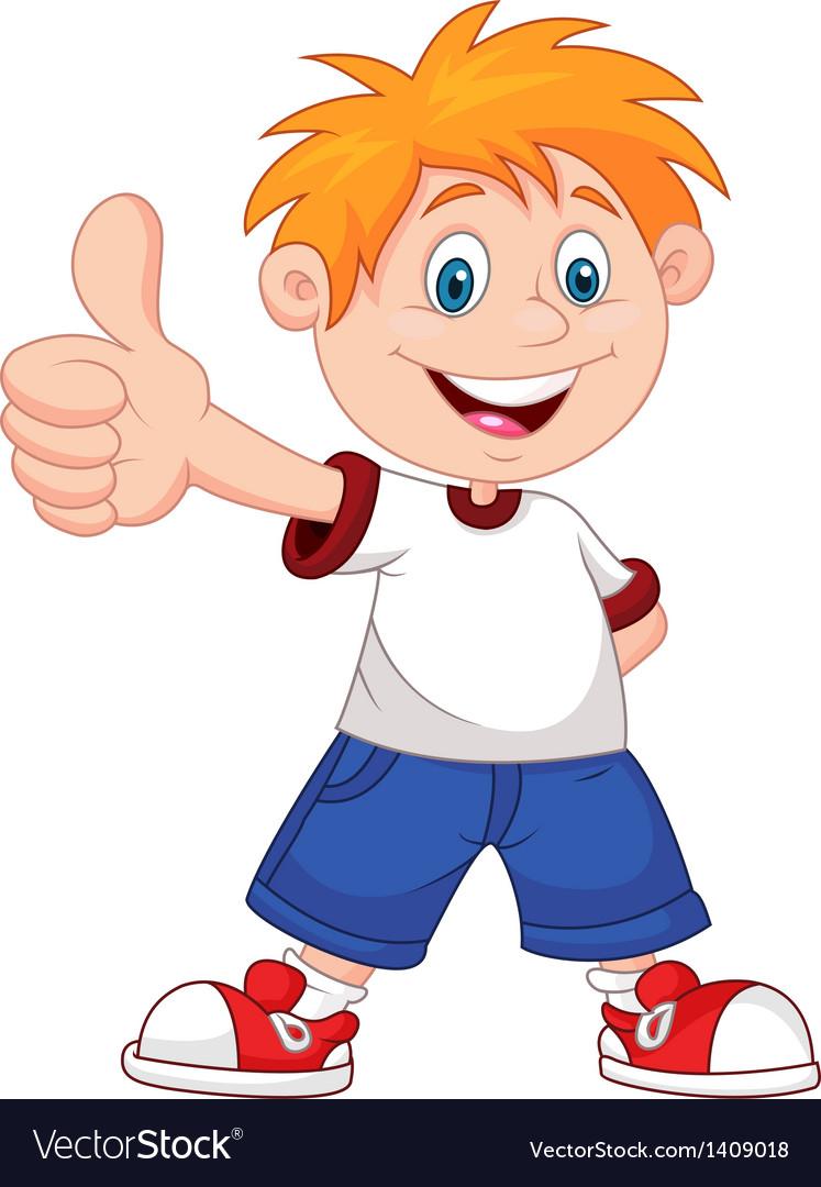 Cartoon boy giving you thumbs up vector image