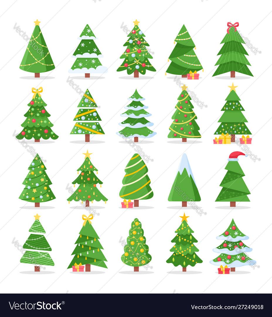 Cartoon christmas trees