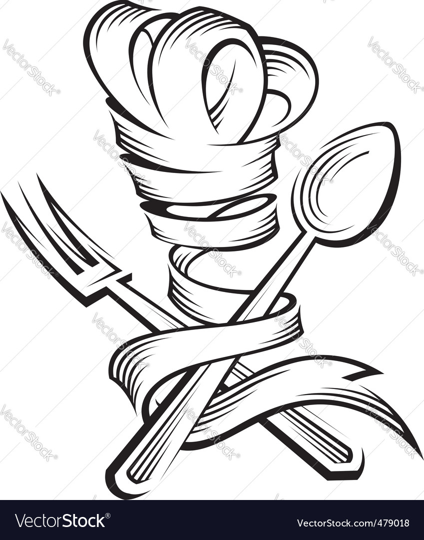 Chef hat spoon and fork