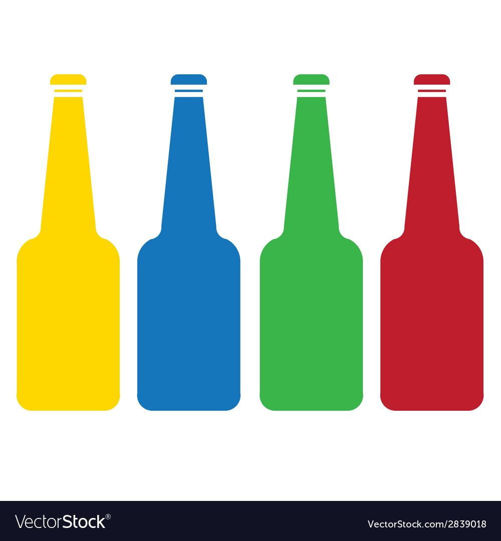 Colored glass bottle set vector image