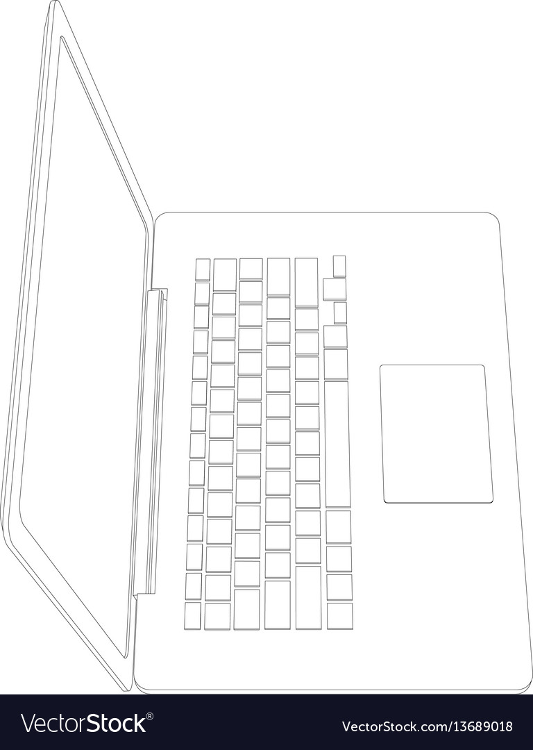 drawing of wire-frame open laptop royalty free vector image  vectorstock