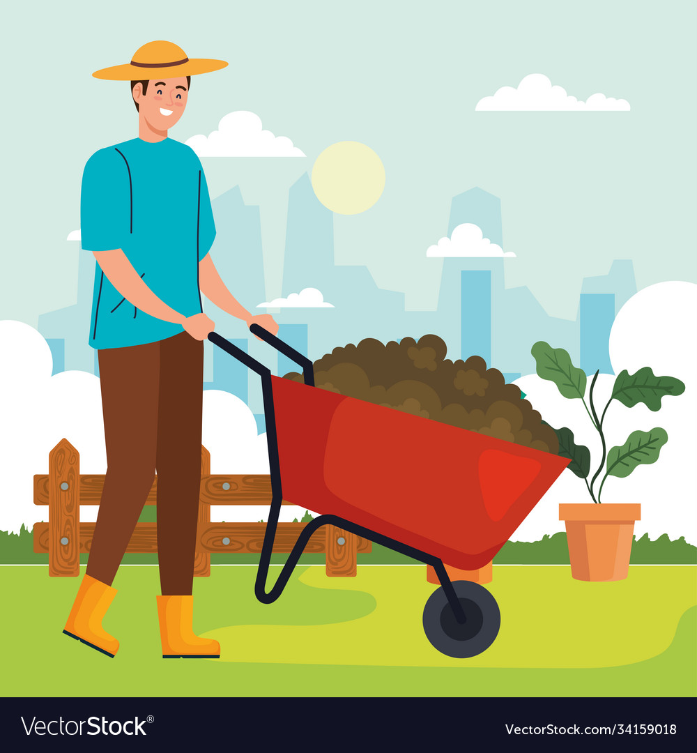 Woman Pushing A Man In The Wheelbarrow. Cartoon Vector Flat-style.. Royalty Free  Cliparts, Vectors, And Stock Illustration. Image 66601975.