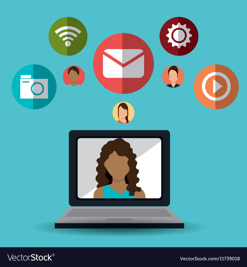 Laptop girl communication message social media vector image