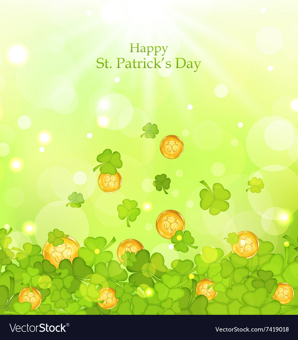 Light background with clovers and coins for St