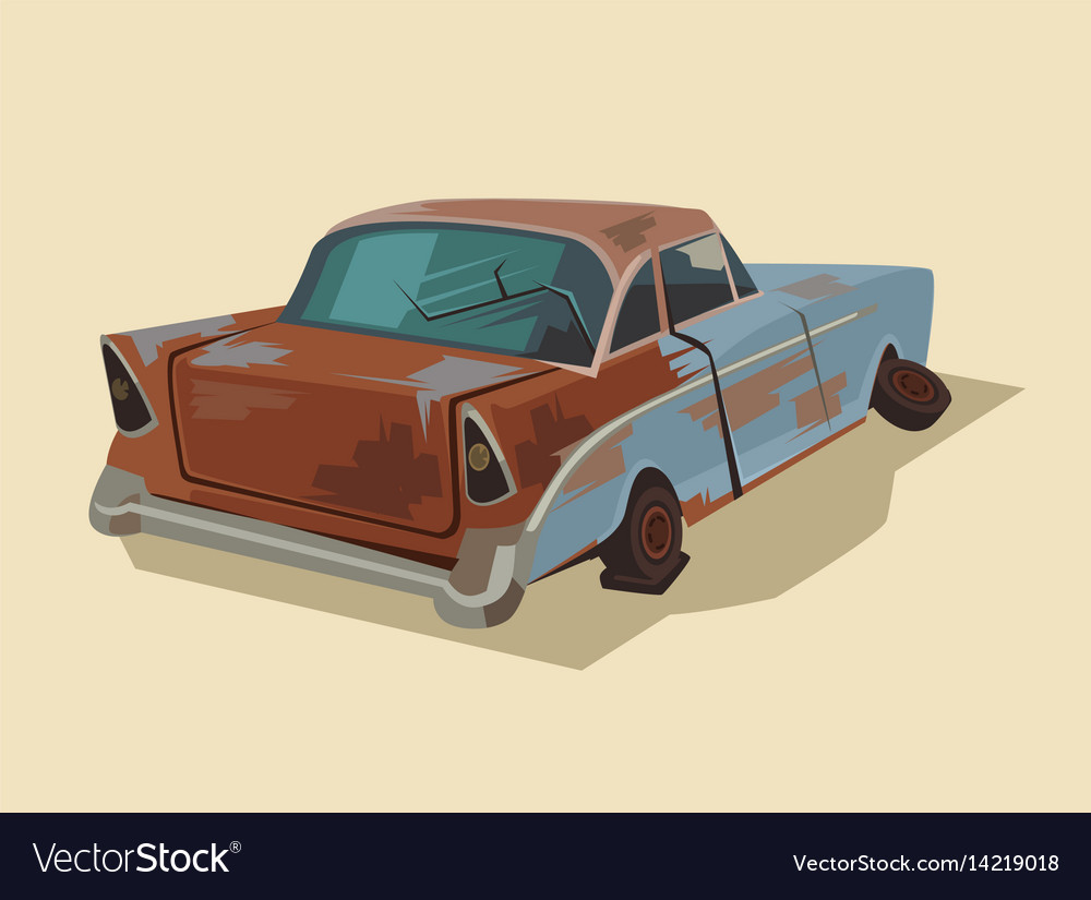 Old rusty broken car vector image