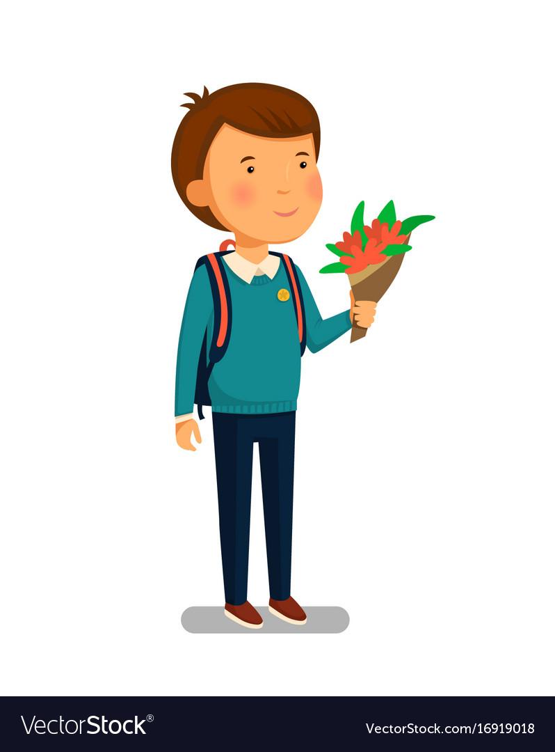 Schoolboy happy schoolboy with backpack