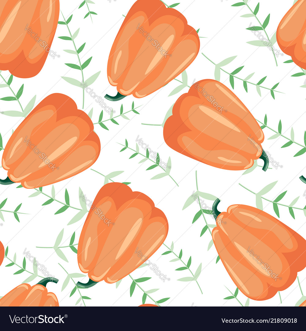 Seamless patterns with leaves and pumpkin