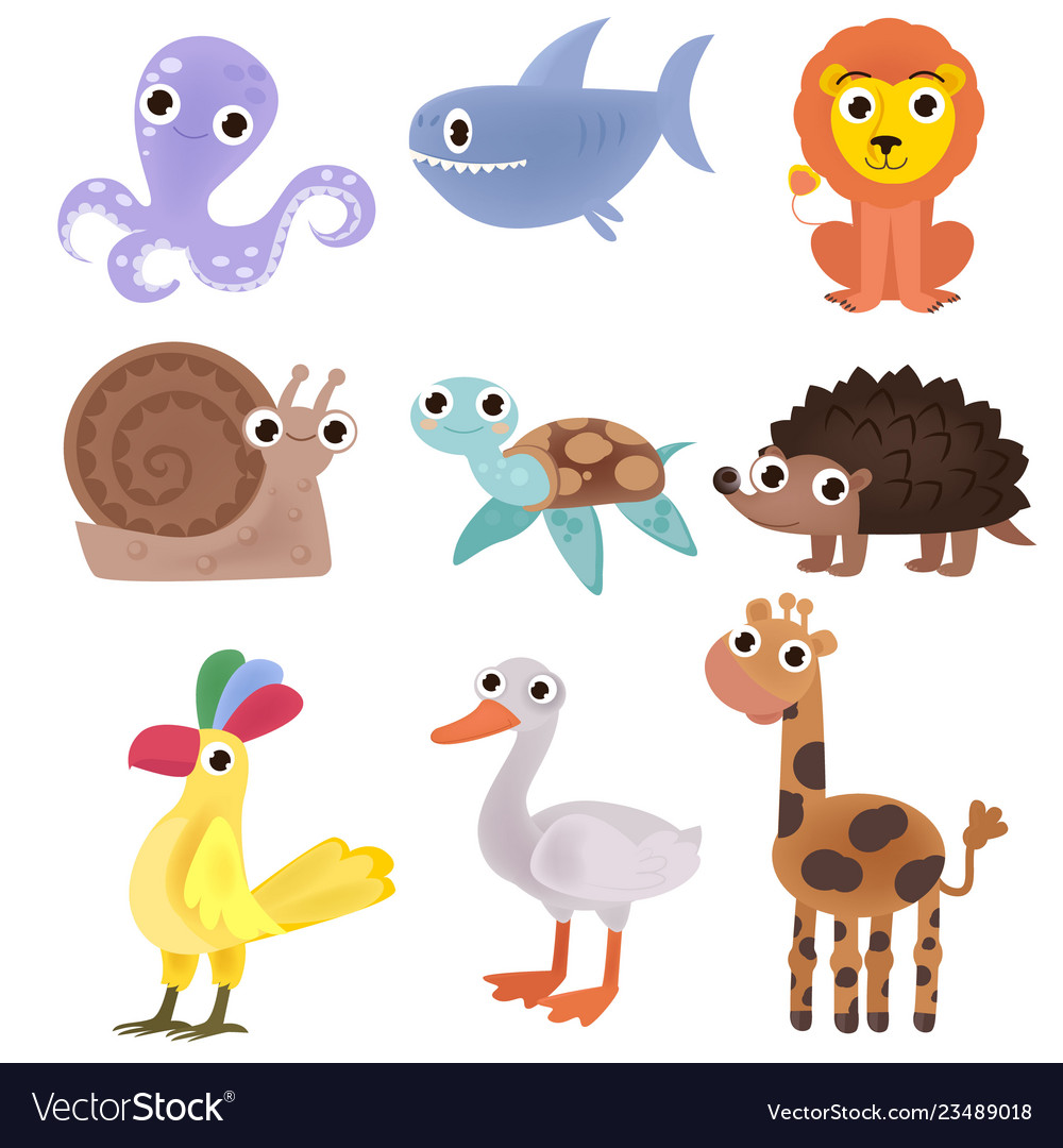 Set of cartoon images of animals a collection of