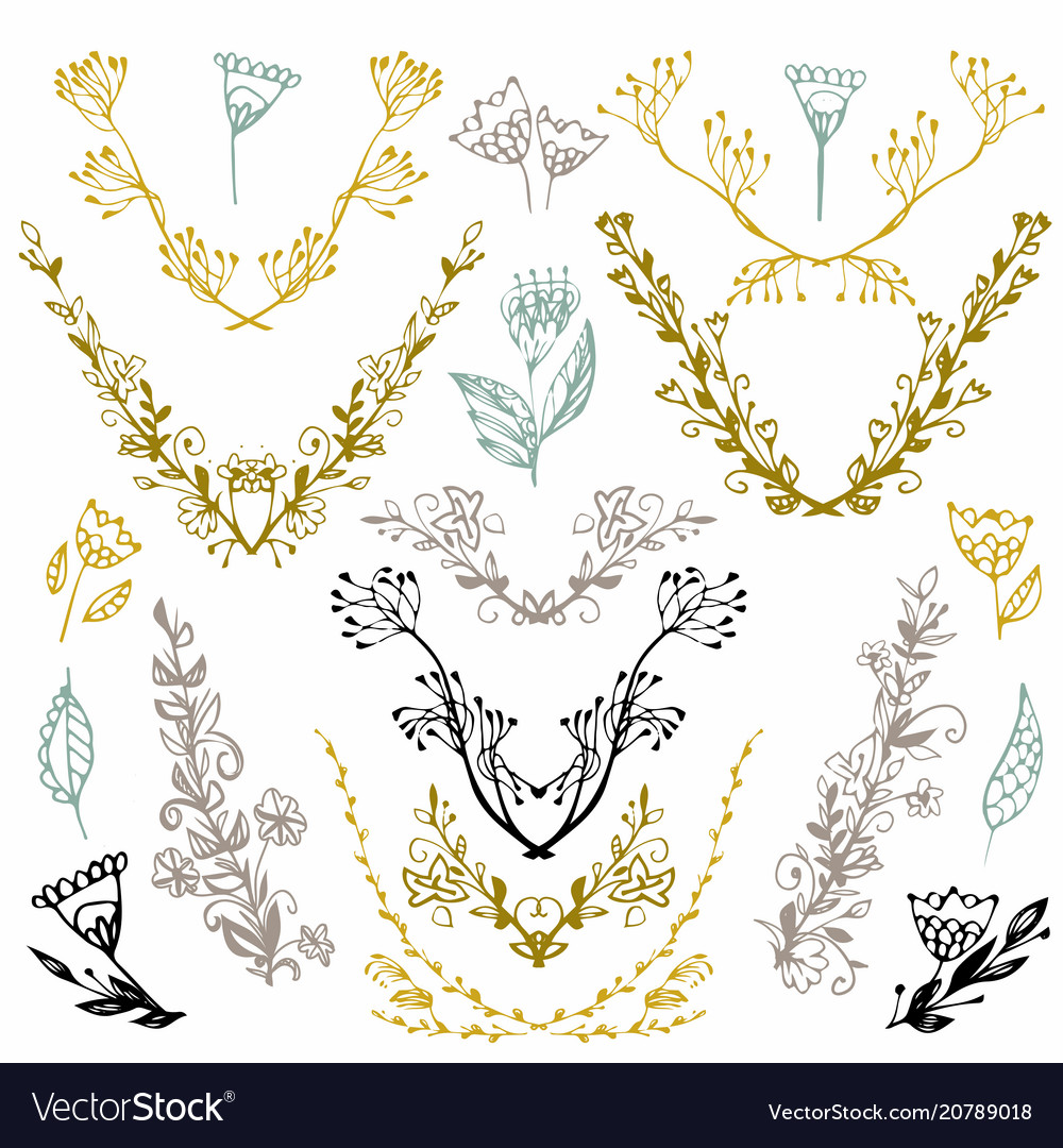 Set of hand drawn symmetrical floral graphic