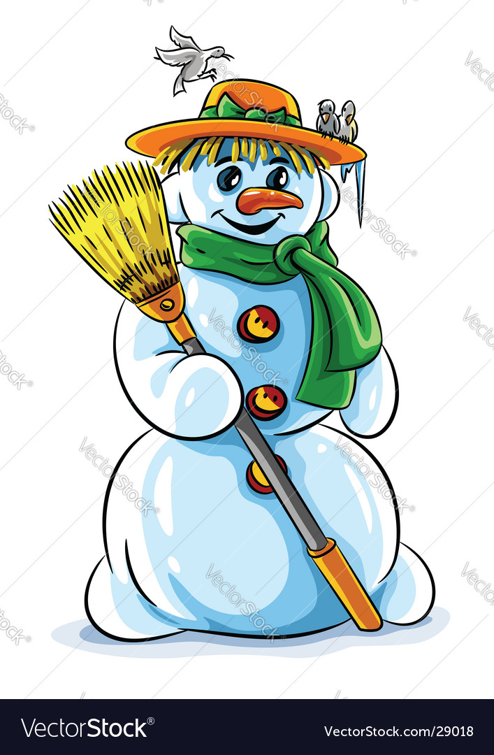Winter snowman with broom vector image