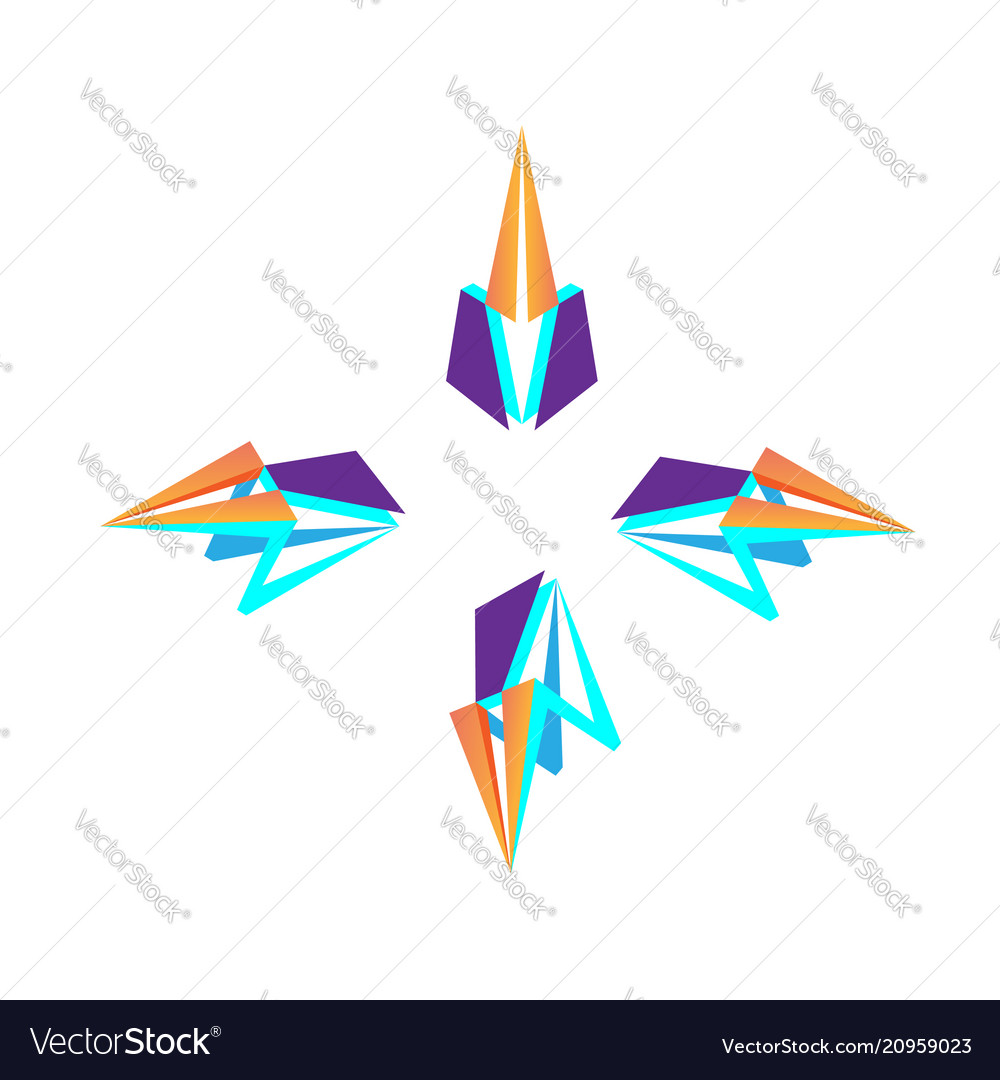 3d triangle purple with arrow logo design